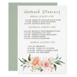 Watercolor floral Bachelorette Weekend Itinerary Invitation