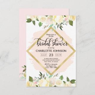 Watercolor Floral Blush Pink Gold Bridal Shower Invitation