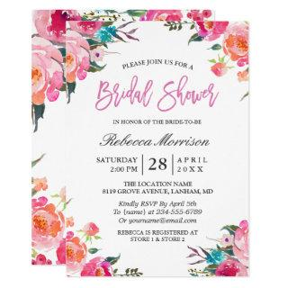 Watercolor Floral Botanical Wreath Bridal Shower Invitations