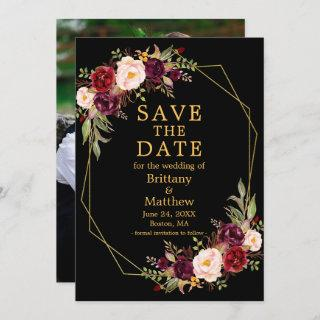 Watercolor Floral Burgundy Black Gold Frame Photo Save The Date