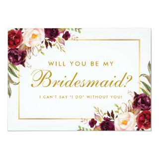 Watercolor Floral Burgundy Gold Bridesmaid Invitations