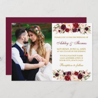 Watercolor Floral Burgundy Gold Photo Wedding Invitations