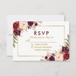 Watercolor Floral Burgundy Gold Wedding RSVP BG