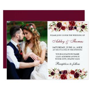 Watercolor Floral Burgundy Photo Wedding Invitations