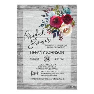 Watercolor Floral Burgundy Rustic Bridal Shower Invitations