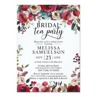 Watercolor Floral Burgundy Tea Party Bridal Shower Invitations
