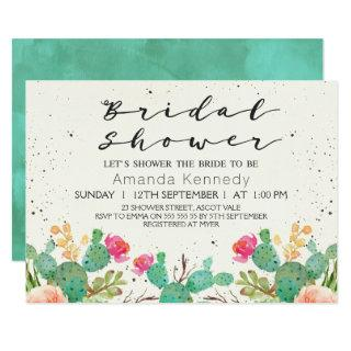 Watercolor Floral Cactus Bridal Shower Invitations