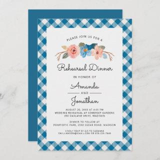 Watercolor Floral Casual Wedding Rehearsal Dinner Invitation