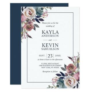 Watercolor Floral Dusty Rose Mauve Navy Blue Invitations