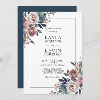Watercolor Floral Dusty Rose Mauve Navy Blue Invitation