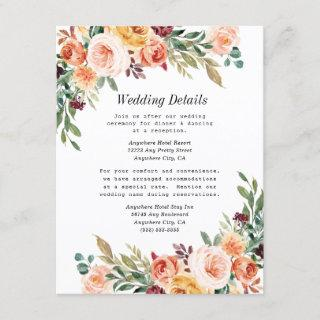 Watercolor Floral Elegant Blush Burgundy Wedding Enclosure Card