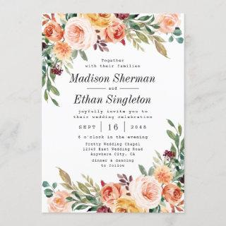 Watercolor Floral Elegant Blush Burgundy Wedding Invitation