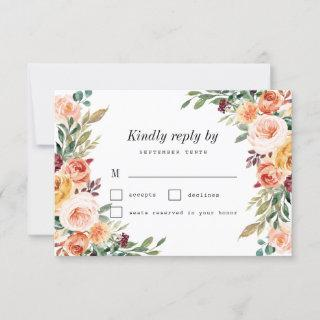 Watercolor Floral Elegant Blush Burgundy Wedding RSVP Card