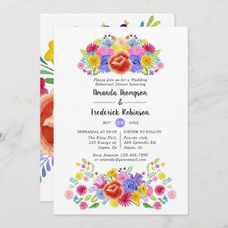 Watercolor Floral Fiesta Rehearsal Dinner Invitations