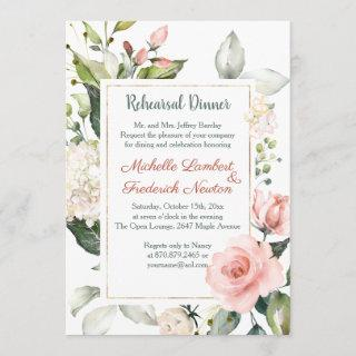 Watercolor floral, foliage Rehearsal Dinner