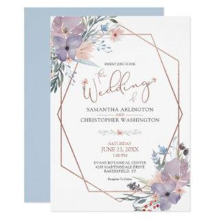 Watercolor Floral Geometric Dusty Blue Wedding Invitation