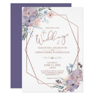 Watercolor Floral Geometric Purple Copper Wedding Invitation