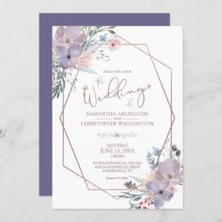 Watercolor Floral Geometric Purple Copper Wedding Invitations