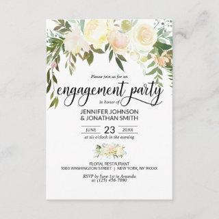 """Watercolor Floral Ivory Engagement Party 3.5""""x5"""" Invitations"""
