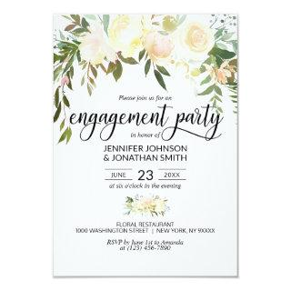 "Watercolor Floral Ivory Engagement Party 3.5""x5"" Invitations"