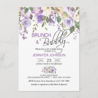 Watercolor Floral Lavender Purple Bridal Brunch Invitations