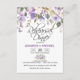 Watercolor Floral Lavender Purple REHEARSAL DINNER Invitation