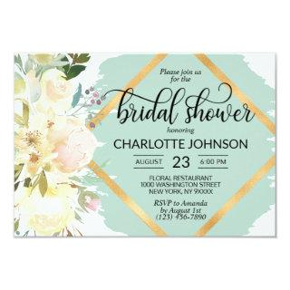 Watercolor Floral Mint Green Gold Bridal Shower Invitation