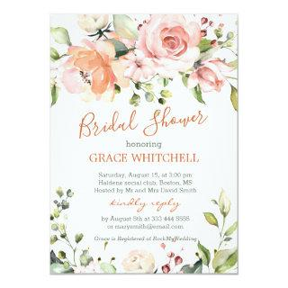 Watercolor floral peach roses Bridal Shower Invitation