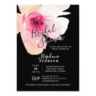 Watercolor Floral Pink Black Bridal Shower Invitations