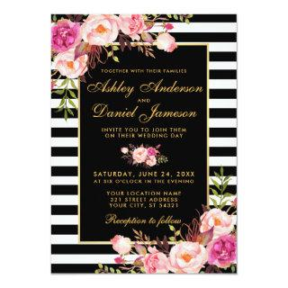 Watercolor Floral Pink Blush Gold Black Wedding Invitations