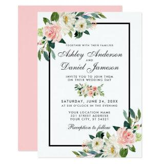 Watercolor Floral Pink Blush Green White Wedding P Invitation