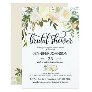 Watercolor Floral Pink Cream Ivory Bridal Shower Invitations