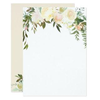 Watercolor Floral Pink Cream Ivory Shower BLANK Invitation