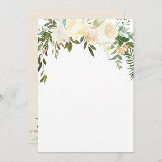 Watercolor Floral Pink Cream Ivory Shower BLANK Invitations