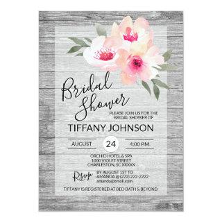 Watercolor Floral Pink Grey Rustic Bridal Shower Invitations