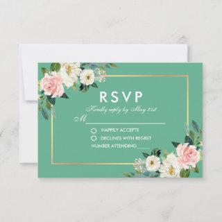 Watercolor Floral Pink White Gold Neo Mint RSVP Card