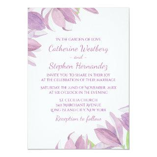 Watercolor Floral Purple Lavender Flower Wedding Invitation