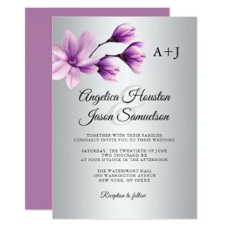 Watercolor Floral Purple Lavender Grey Wedding Invitations