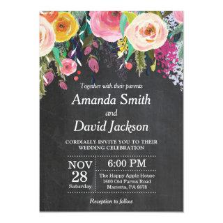 Watercolor Floral Wedding Invitation Chalkboard