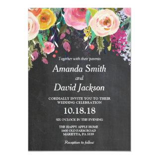 Watercolor Floral Wedding Invitations Chalkboard