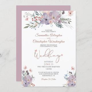 Watercolor Floral Wildflowers Lilac Wedding