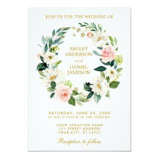 Watercolor Floral Wreath Pink White  Gold Wedding Invitations