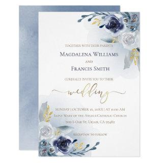 watercolor flowers and faux gold details | wedding Invitations
