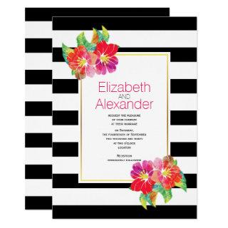Watercolor flowers black white stripes wedding invitation