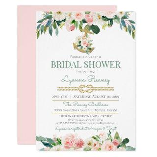Watercolor Flowers Blush Nautical Bridal Shower Invitation