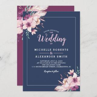 Watercolor Flowers Floral Navy Wedding Invitations
