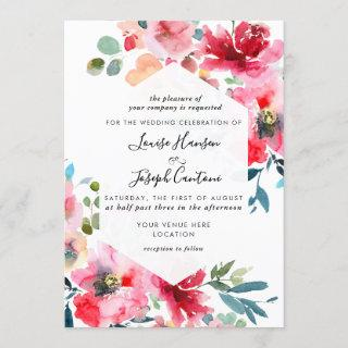 Watercolor Flowers Garden Roses, Red Ombre Wedding Invitation