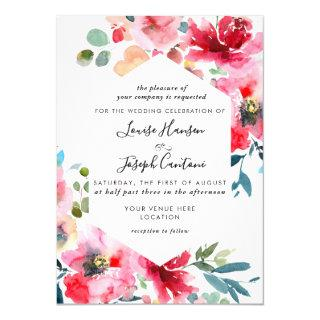 Watercolor Flowers Garden Roses, Red Ombre Wedding Invitations