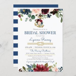 Watercolor Flowers Navy Nautical Bridal Shower Invitation