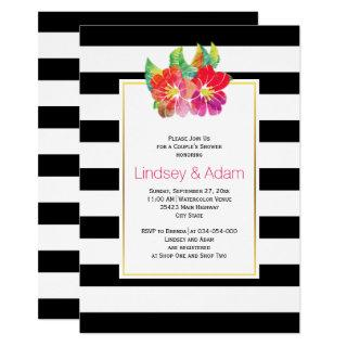 Watercolor flowers, stripes wedding couples shower Invitations